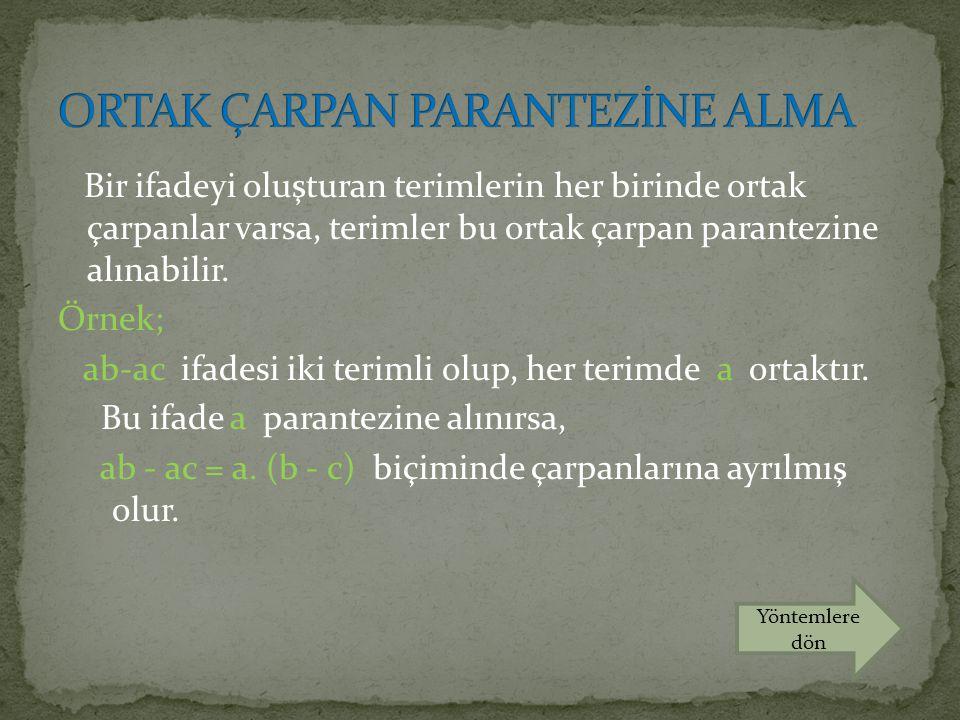 ORTAK ÇARPAN PARANTEZİNE ALMA