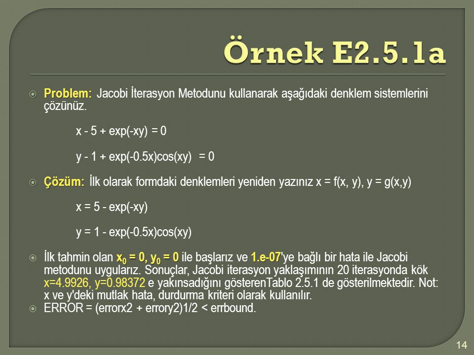 Örnek E2.5.1a Problem: Jacobi İterasyon Metodunu kullanarak aşağıdaki denklem sistemlerini çözünüz.