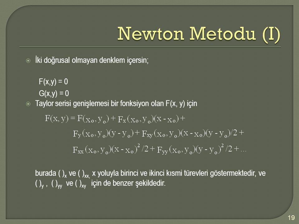Newton Metodu (I) İki doğrusal olmayan denklem içersin; F(x,y) = 0