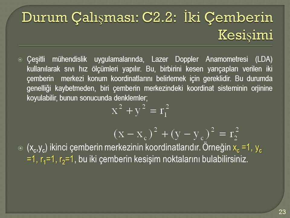 Durum Çalışması: C2.2: İki Çemberin Kesişimi