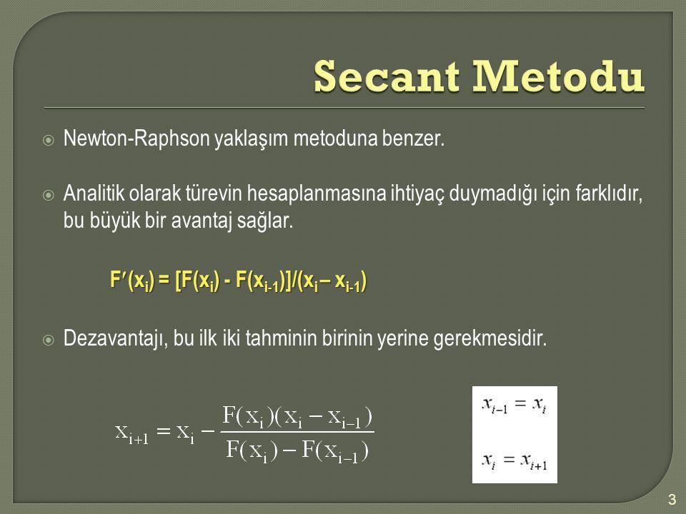 Secant Metodu Newton-Raphson yaklaşım metoduna benzer.