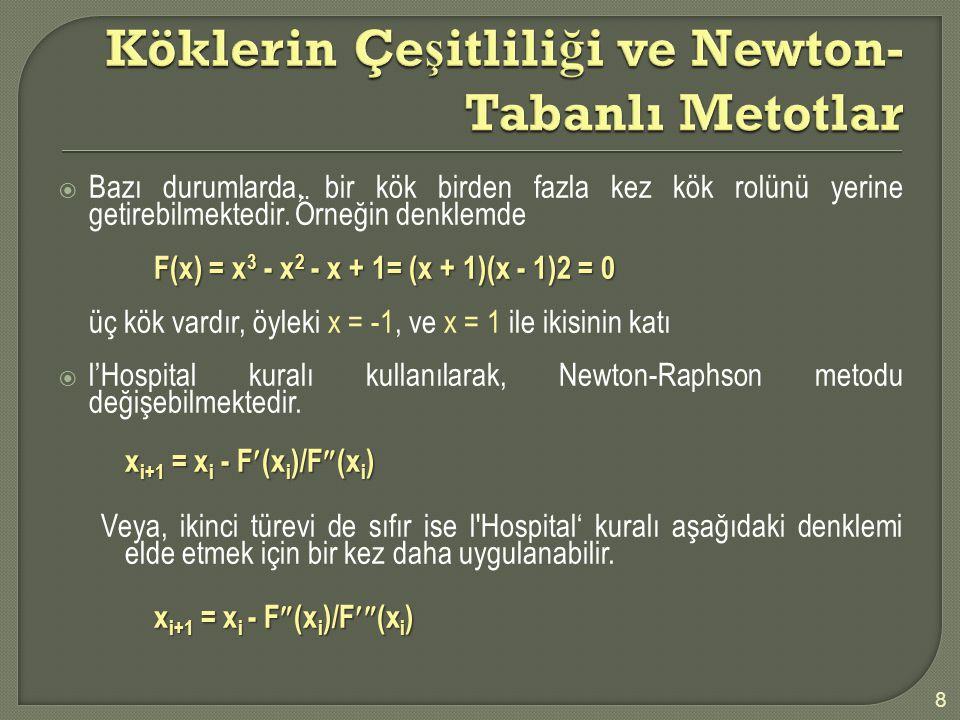 Köklerin Çeşitliliği ve Newton-Tabanlı Metotlar