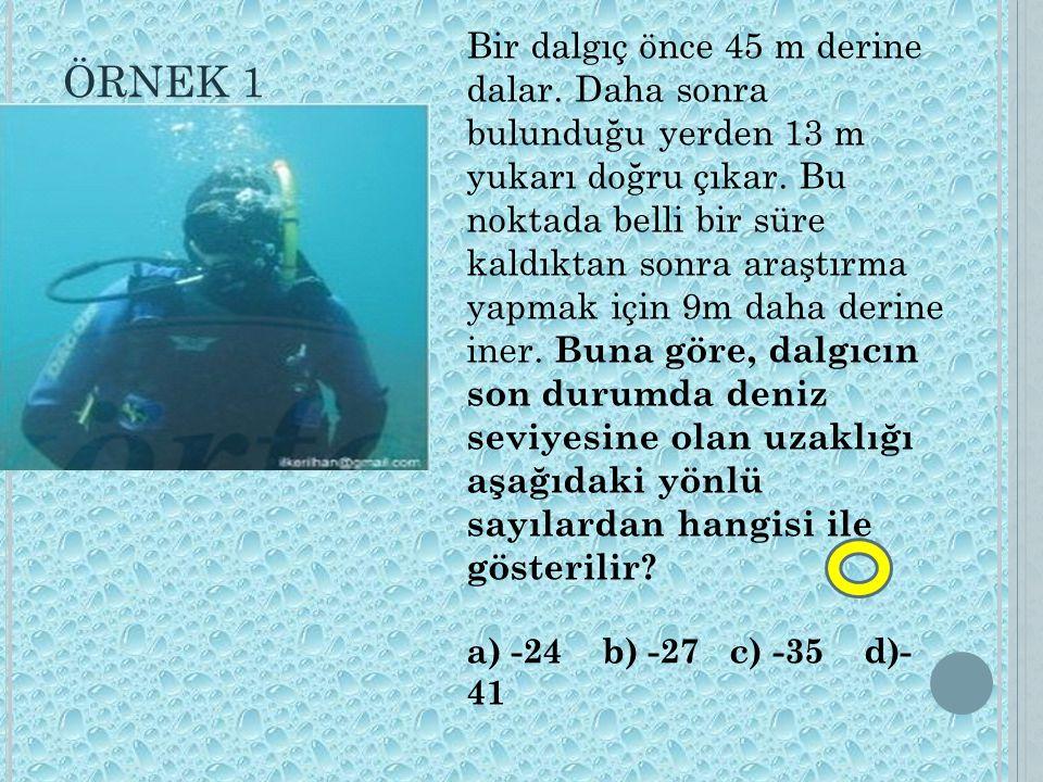 Bir dalgıç önce 45 m derine dalar