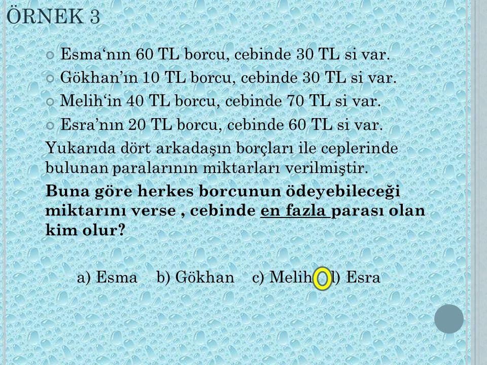 ÖRNEK 3 Esma'nın 60 TL borcu, cebinde 30 TL si var.