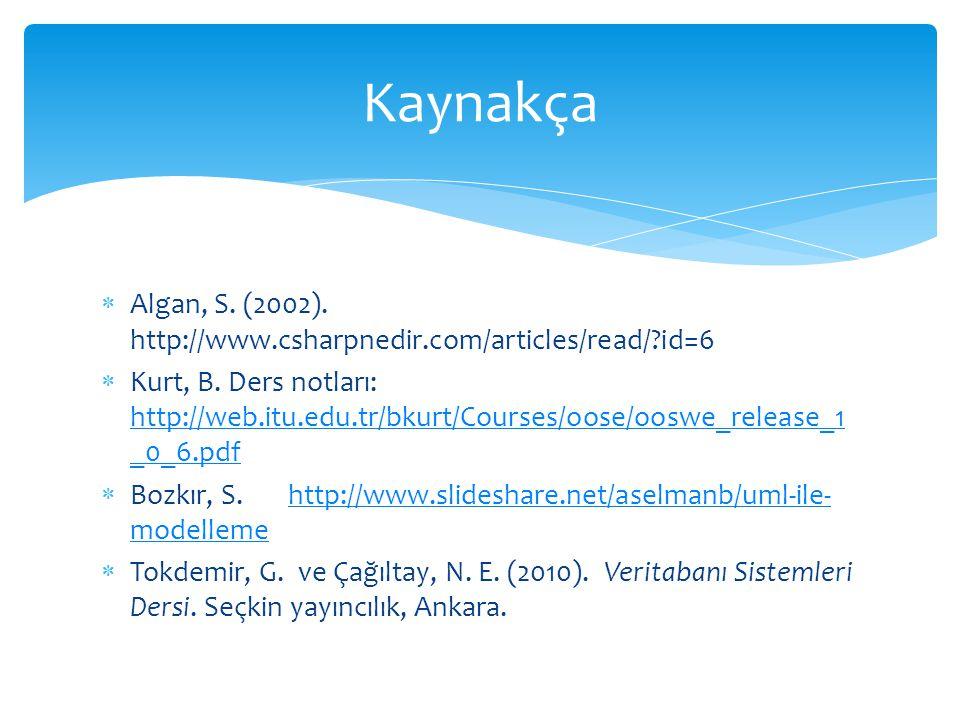 Kaynakça Algan, S. (2002). http://www.csharpnedir.com/articles/read/ id=6.