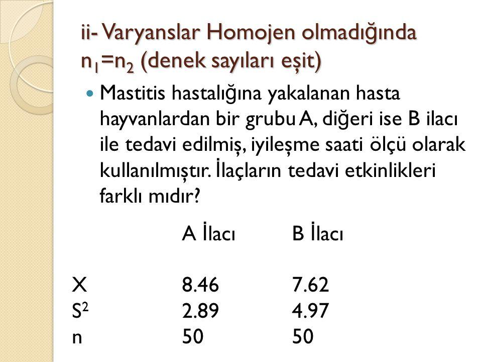 ii- Varyanslar Homojen olmadığında n1=n2 (denek sayıları eşit)