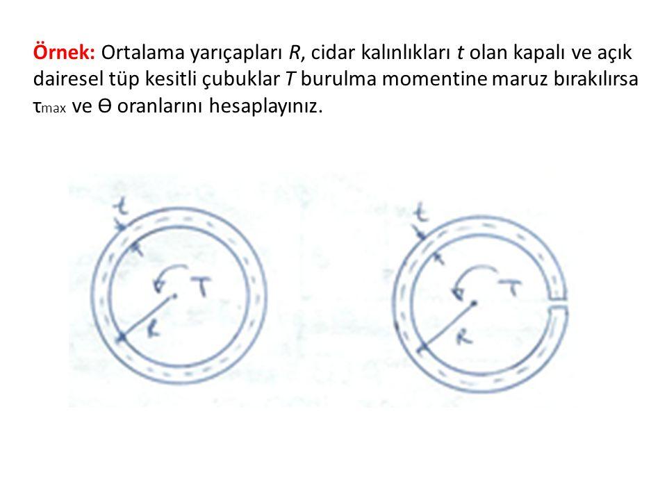 Örnek: Ortalama yarıçapları R, cidar kalınlıkları t olan kapalı ve açık dairesel tüp kesitli çubuklar T burulma momentine maruz bırakılırsa τmax ve ϴ oranlarını hesaplayınız.