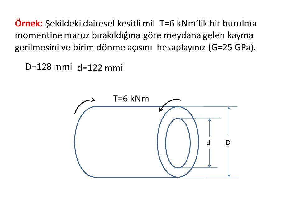 Örnek: Şekildeki dairesel kesitli mil T=6 kNm'lik bir burulma momentine maruz bırakıldığına göre meydana gelen kayma gerilmesini ve birim dönme açısını hesaplayınız (G=25 GPa).