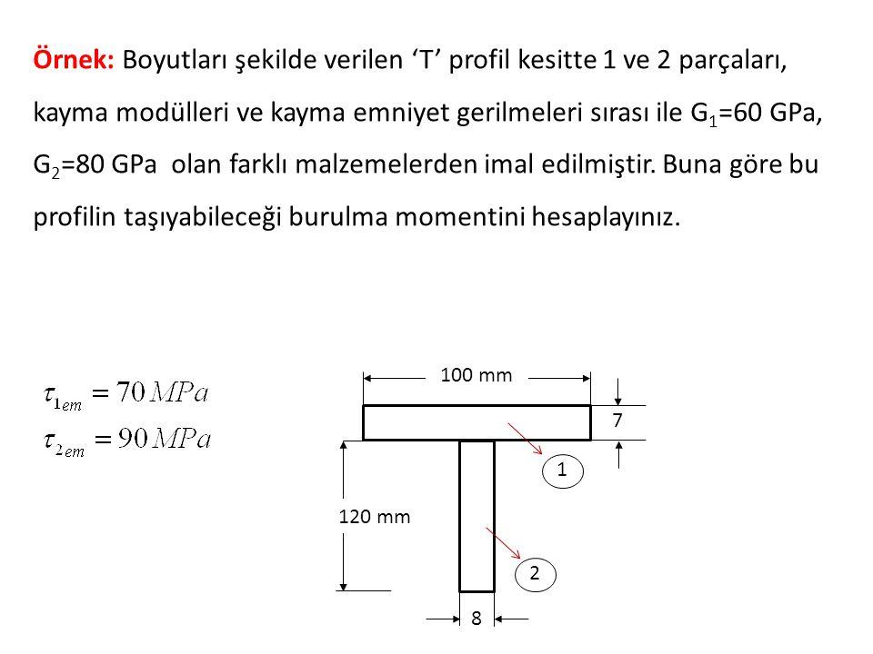 Örnek: Boyutları şekilde verilen 'T' profil kesitte 1 ve 2 parçaları, kayma modülleri ve kayma emniyet gerilmeleri sırası ile G1=60 GPa, G2=80 GPa olan farklı malzemelerden imal edilmiştir. Buna göre bu profilin taşıyabileceği burulma momentini hesaplayınız.