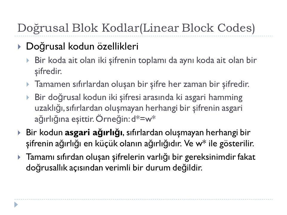 Doğrusal Blok Kodlar(Linear Block Codes)