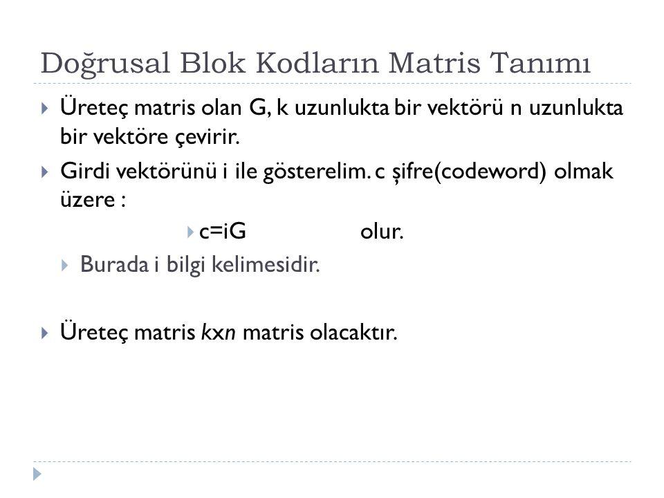 Doğrusal Blok Kodların Matris Tanımı