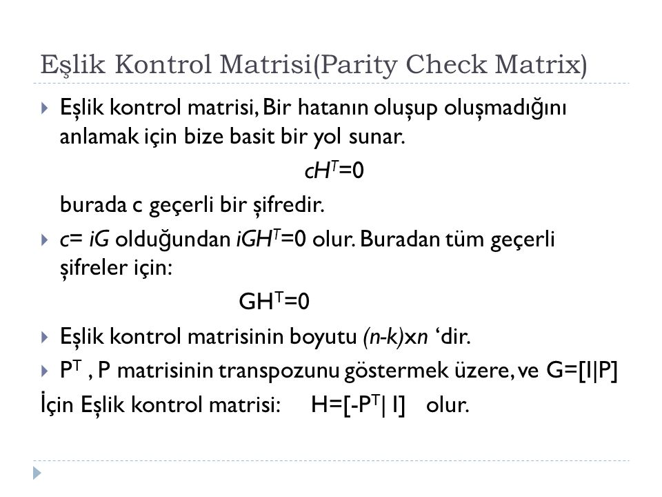 Eşlik Kontrol Matrisi(Parity Check Matrix)