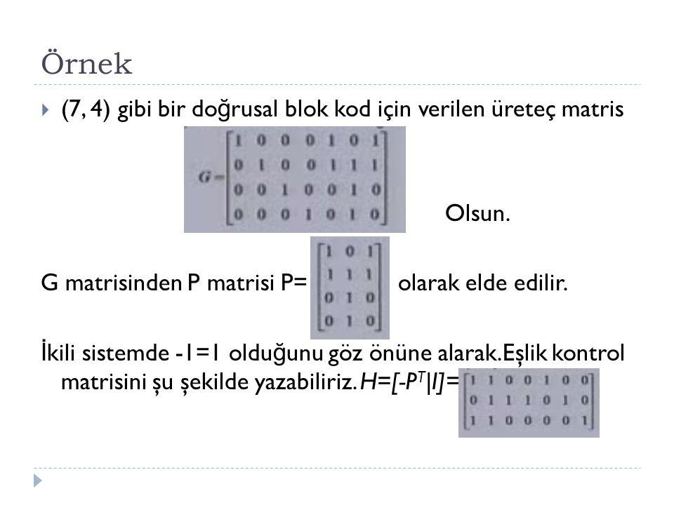 Örnek (7, 4) gibi bir doğrusal blok kod için verilen üreteç matris