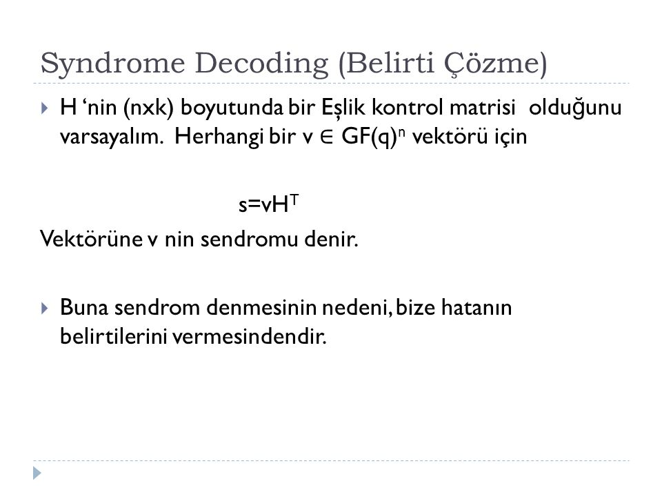Syndrome Decoding (Belirti Çözme)