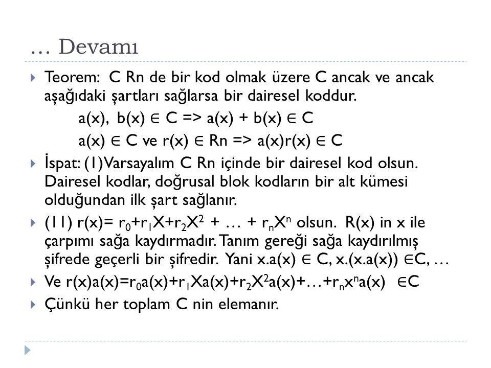 … Devamı Teorem: C Rn de bir kod olmak üzere C ancak ve ancak aşağıdaki şartları sağlarsa bir dairesel koddur.
