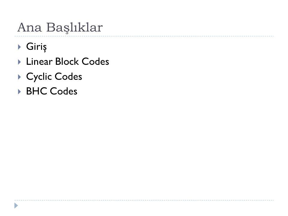 Ana Başlıklar Giriş Linear Block Codes Cyclic Codes BHC Codes