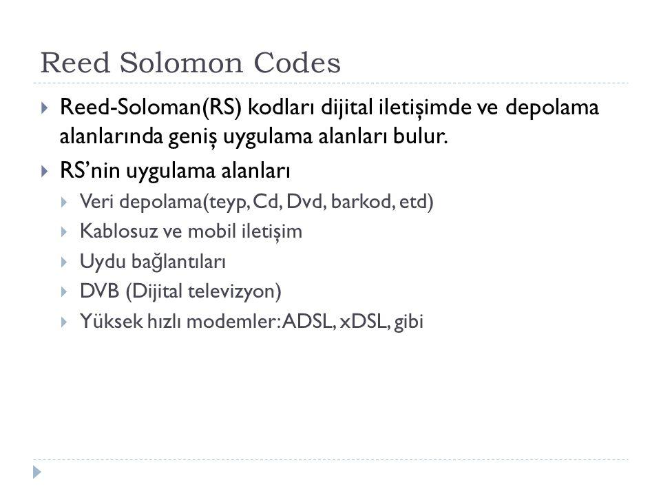 Reed Solomon Codes Reed-Soloman(RS) kodları dijital iletişimde ve depolama alanlarında geniş uygulama alanları bulur.