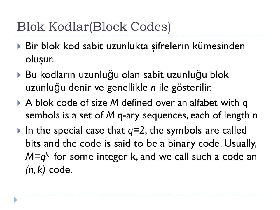 Blok Kodlar(Block Codes)