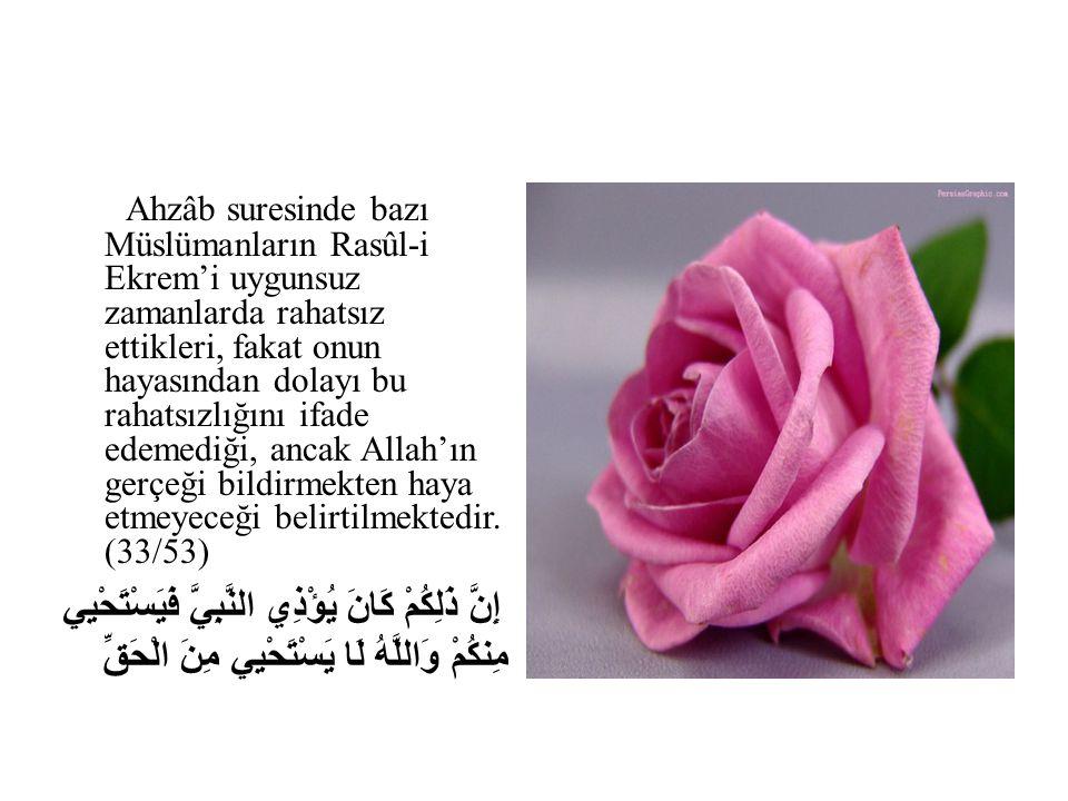Ahzâb suresinde bazı Müslümanların Rasûl-i Ekrem'i uygunsuz zamanlarda rahatsız ettikleri, fakat onun hayasından dolayı bu rahatsızlığını ifade edemediği, ancak Allah'ın gerçeği bildirmekten haya etmeyeceği belirtilmektedir. (33/53)