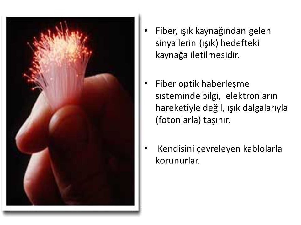 Fiber, ışık kaynağından gelen sinyallerin (ışık) hedefteki kaynağa iletilmesidir.