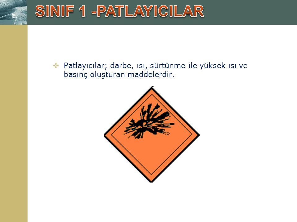 SINIF 1 -PATLAYICILAR Patlayıcılar; darbe, ısı, sürtünme ile yüksek ısı ve basınç oluşturan maddelerdir.