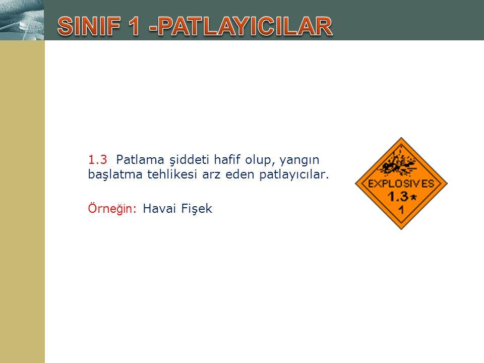 SINIF 1 -PATLAYICILAR 1.3 Patlama şiddeti hafif olup, yangın başlatma tehlikesi arz eden patlayıcılar.
