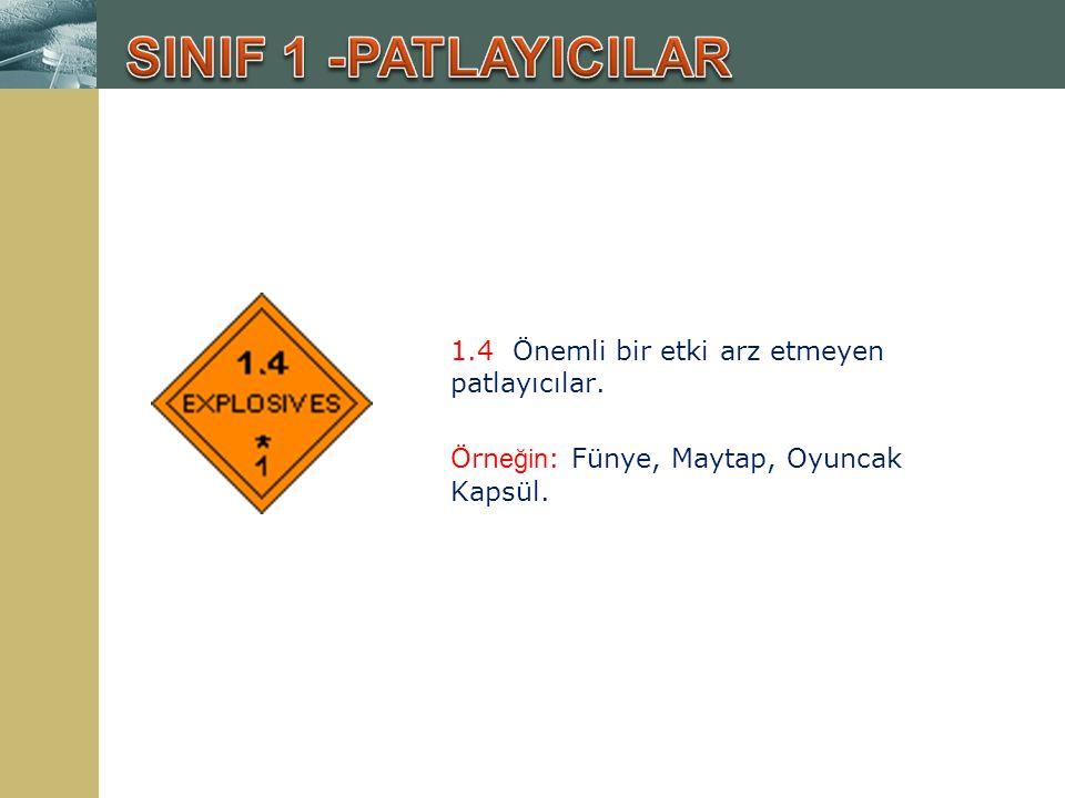 SINIF 1 -PATLAYICILAR 1.4 Önemli bir etki arz etmeyen patlayıcılar.