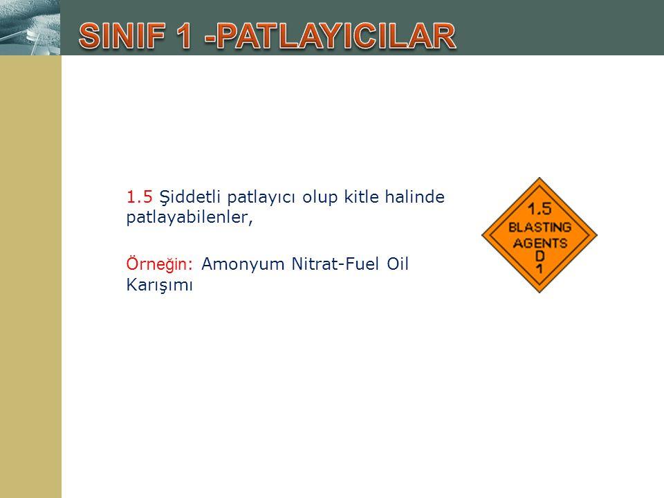 SINIF 1 -PATLAYICILAR 1.5 Şiddetli patlayıcı olup kitle halinde patlayabilenler, Örneğin: Amonyum Nitrat-Fuel Oil Karışımı