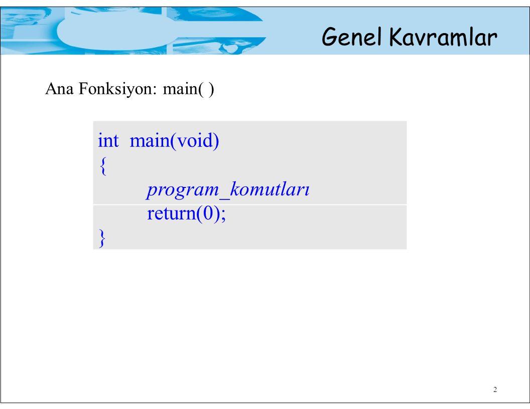Ana Fonksiyon: main( ) Genel Kavramlar int main(void) {