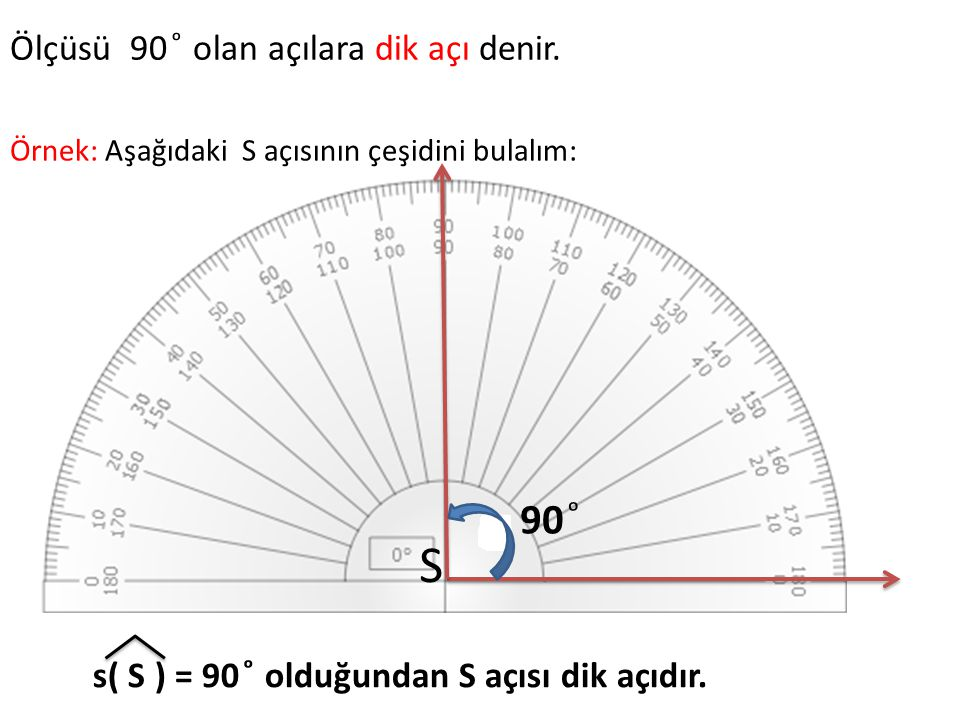 S 90 ͦ Ölçüsü 90 ͦ olan açılara dik açı denir.
