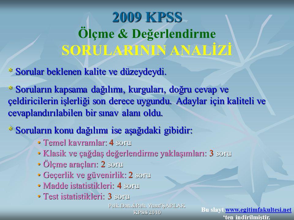 2009 KPSS Ölçme & Değerlendirme SORULARININ ANALİZİ