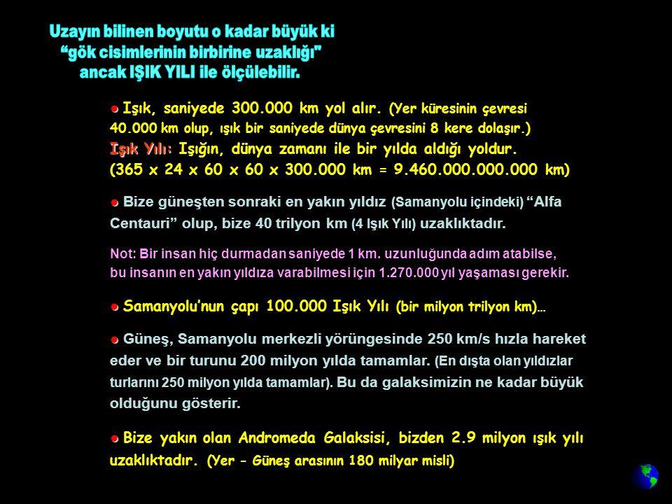 ● Samanyolu'nun çapı 100.000 Işık Yılı (bir milyon trilyon km)…
