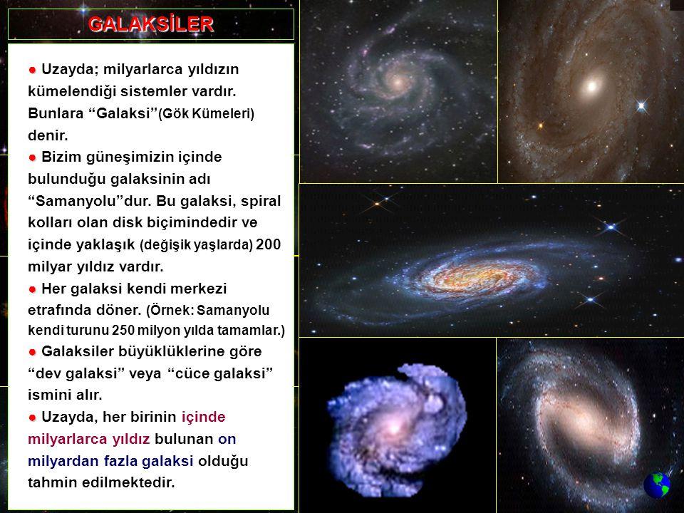 GALAKSİLER ● Uzayda; milyarlarca yıldızın kümelendiği sistemler vardır. Bunlara Galaksi (Gök Kümeleri) denir.