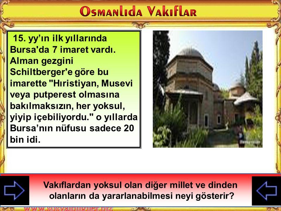 15. yy'ın ilk yıllarında Bursa da 7 imaret vardı