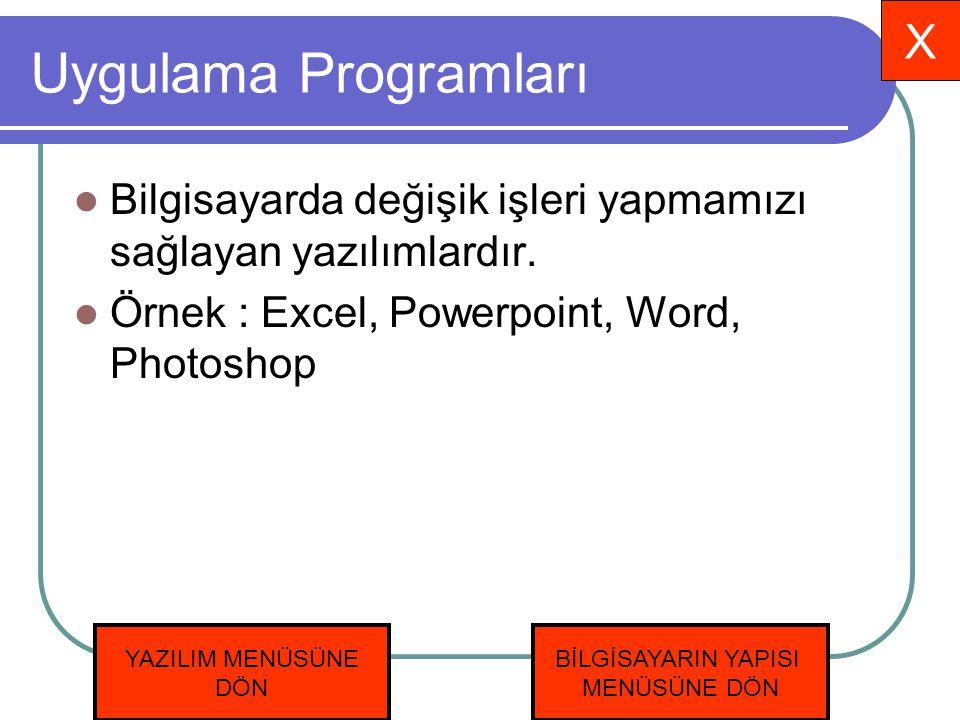 Uygulama Programları X
