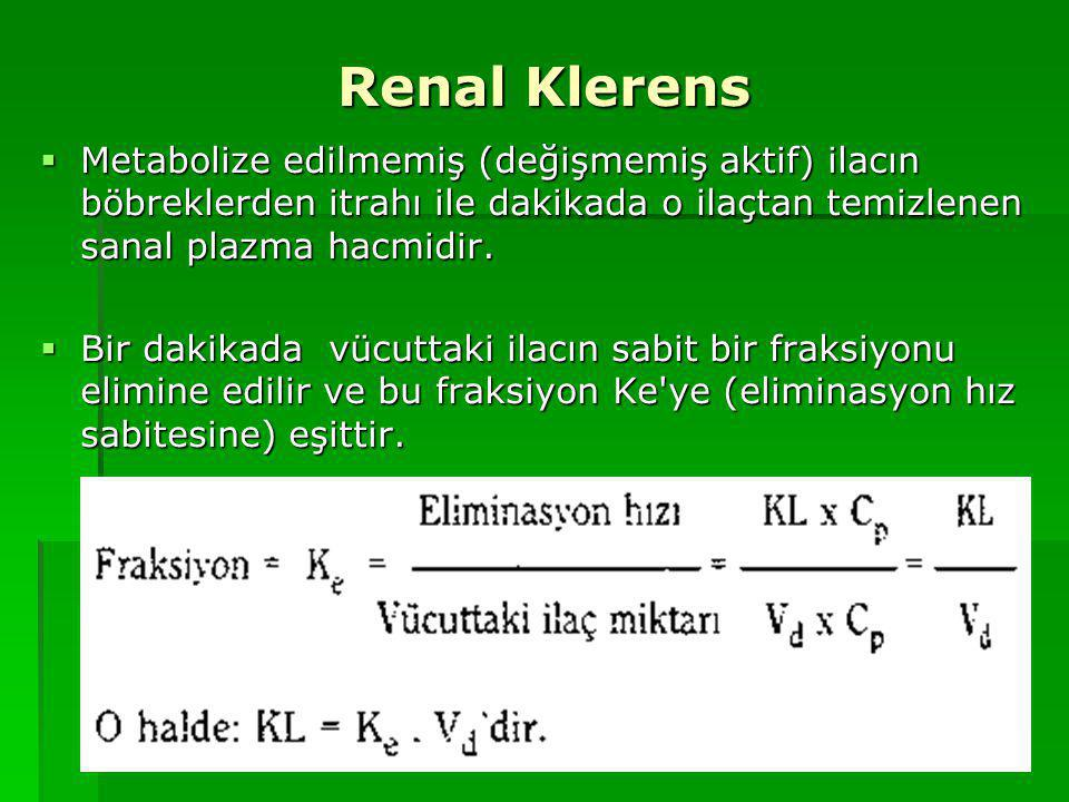 Renal Klerens Metabolize edilmemiş (değişmemiş aktif) ilacın böbreklerden itrahı ile dakikada o ilaçtan temizlenen sanal plazma hacmidir.