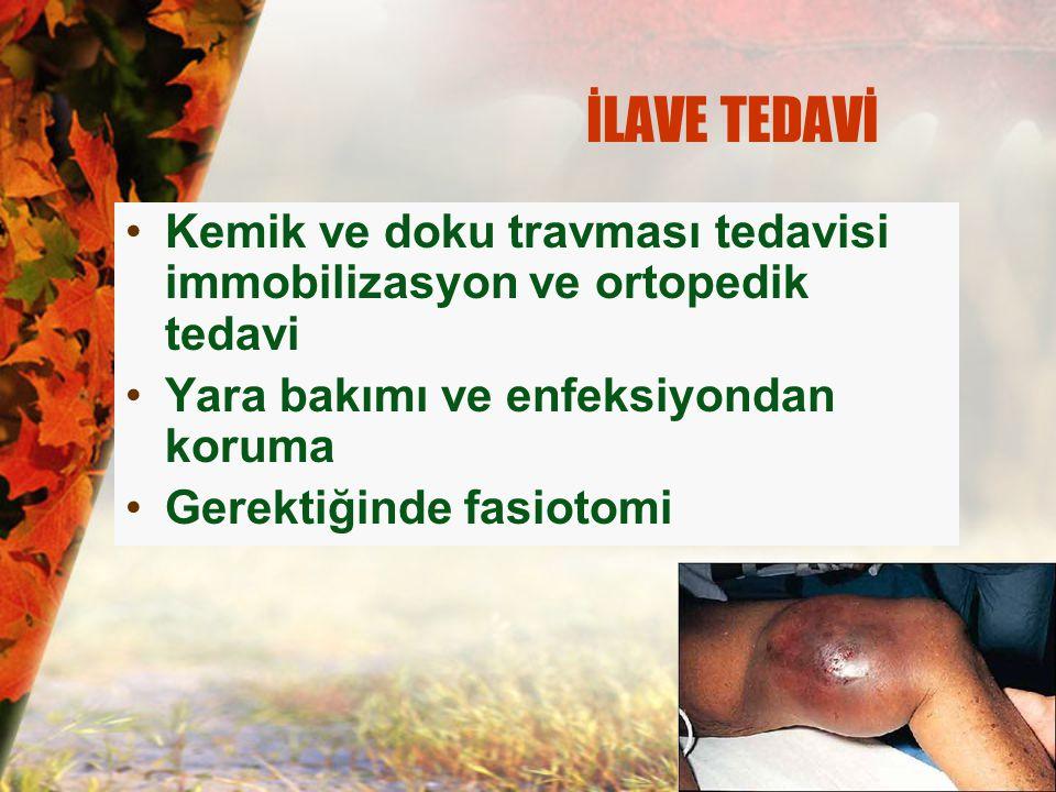 İLAVE TEDAVİ Kemik ve doku travması tedavisi immobilizasyon ve ortopedik tedavi. Yara bakımı ve enfeksiyondan koruma.
