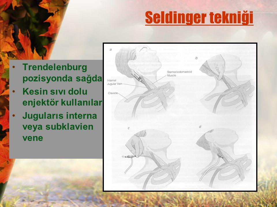 Seldinger tekniği Trendelenburg pozisyonda sağdan