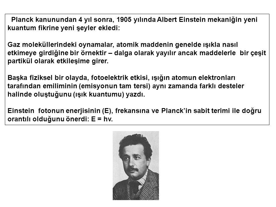 Planck kanunundan 4 yıl sonra, 1905 yılında Albert Einstein mekaniğin yeni kuantum fikrine yeni şeyler ekledi: