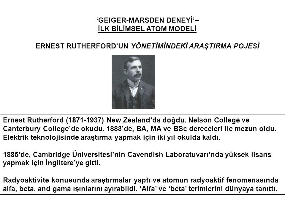 'GEIGER-MARSDEN DENEYİ'– İLK BİLİMSEL ATOM MODELİ