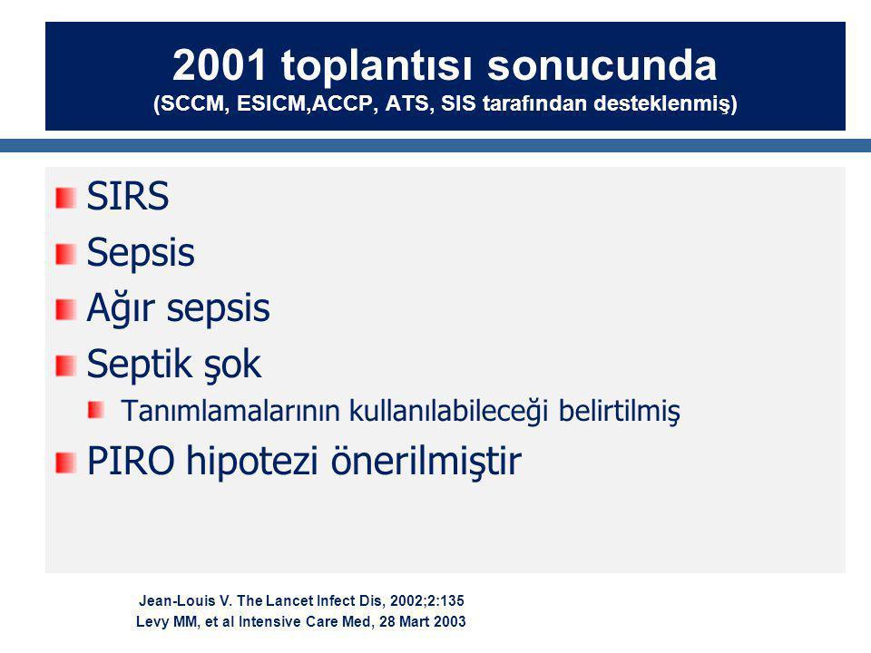 2001 toplantısı sonucunda (SCCM, ESICM,ACCP, ATS, SIS tarafından desteklenmiş)