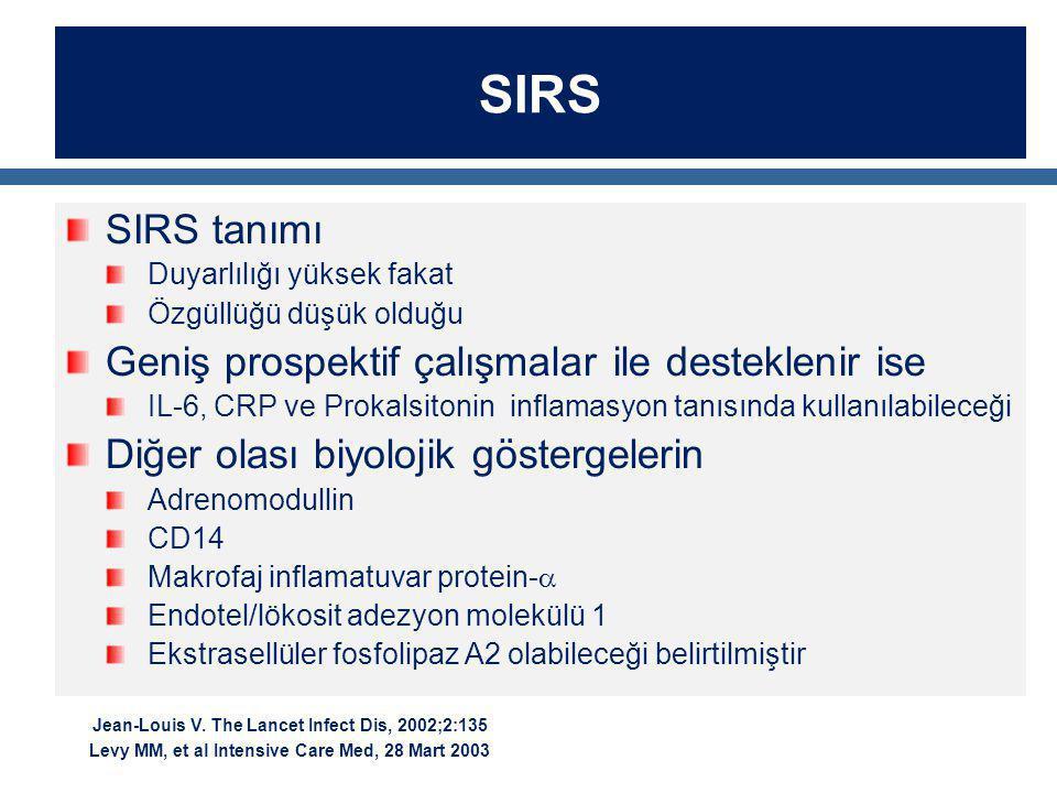 SIRS SIRS tanımı Geniş prospektif çalışmalar ile desteklenir ise