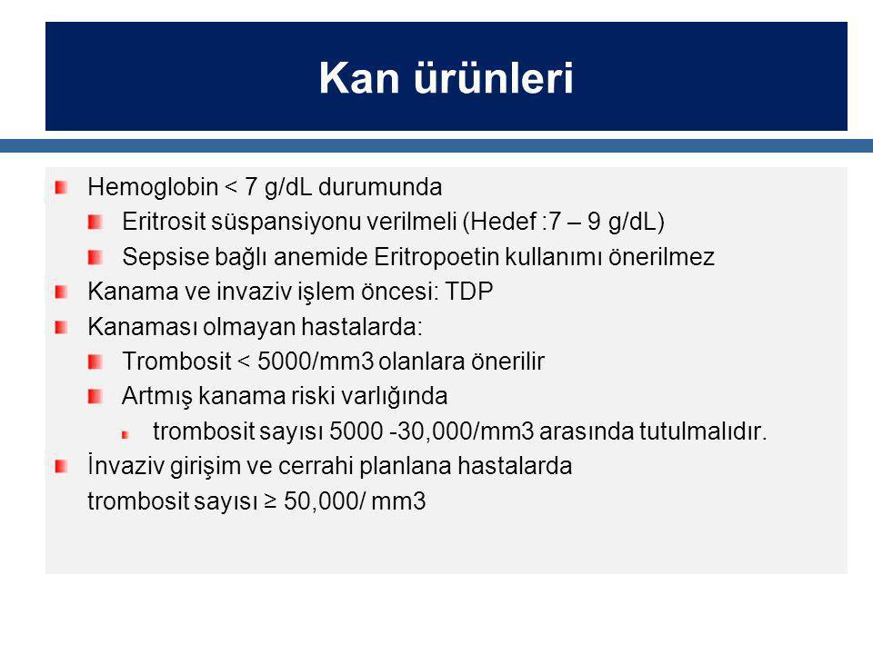 Kan ürünleri Hemoglobin < 7 g/dL durumunda