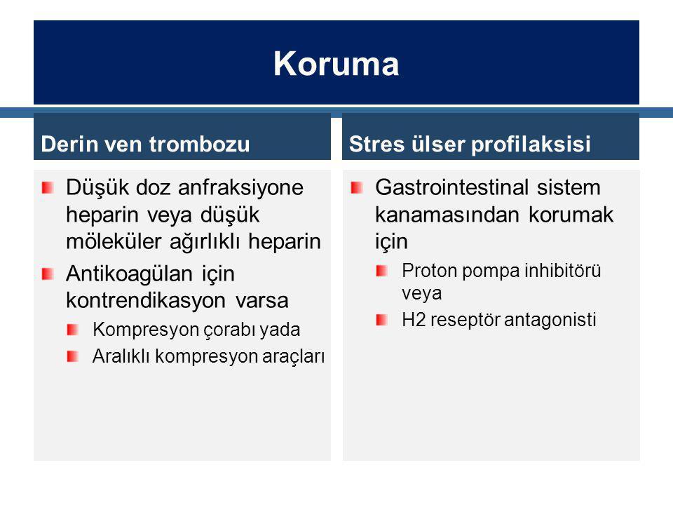 Koruma Derin ven trombozu Stres ülser profilaksisi