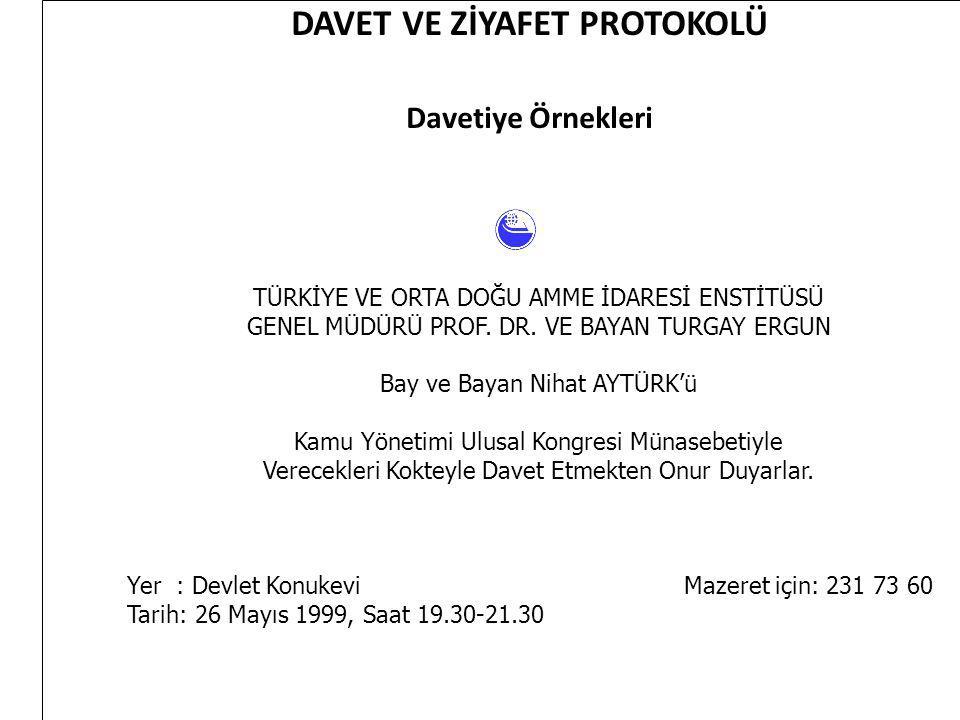 DAVET VE ZİYAFET PROTOKOLÜ