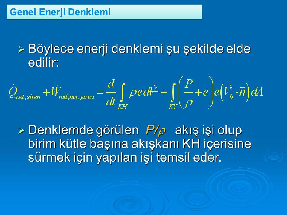 Böylece enerji denklemi şu şekilde elde edilir: