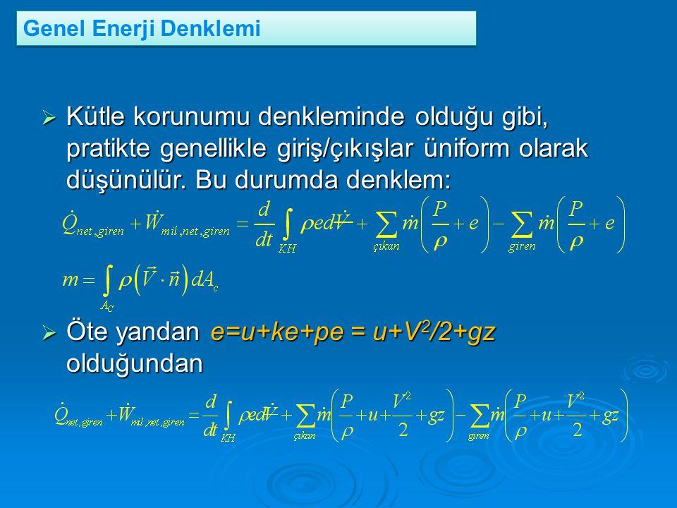 Öte yandan e=u+ke+pe = u+V2/2+gz olduğundan