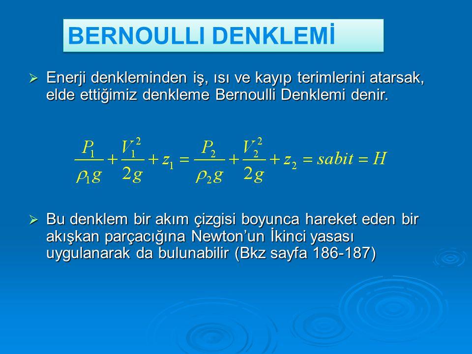 BERNOULLI DENKLEMİ Enerji denkleminden iş, ısı ve kayıp terimlerini atarsak, elde ettiğimiz denkleme Bernoulli Denklemi denir.