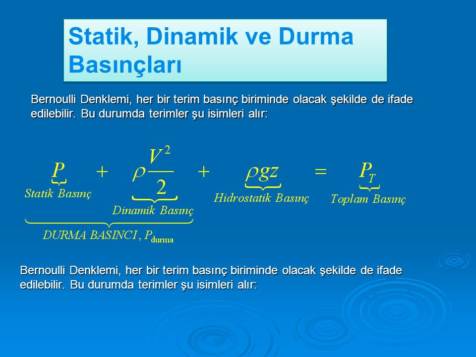 Statik, Dinamik ve Durma Basınçları