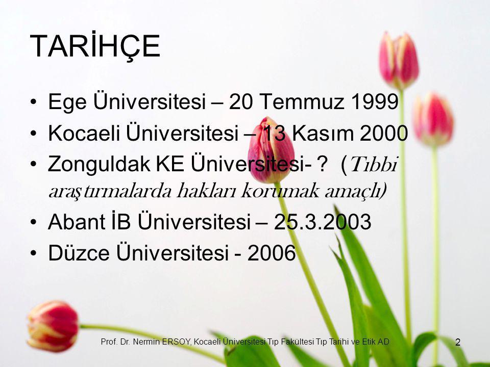 TARİHÇE Ege Üniversitesi – 20 Temmuz 1999